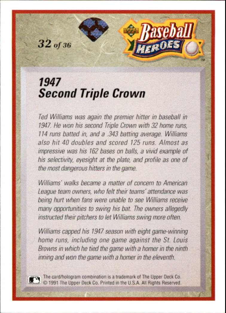 1992 Upper Deck Williams Heroes #32 Ted Williams back image