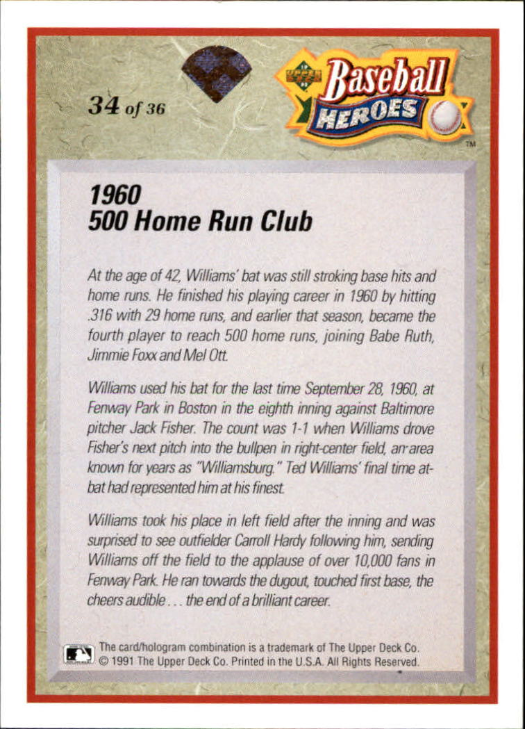 1992 Upper Deck Williams Heroes #34 Ted Williams back image