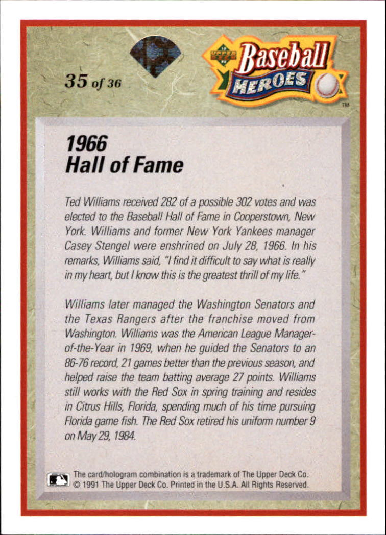 1992 Upper Deck Williams Heroes #35 Ted Williams back image