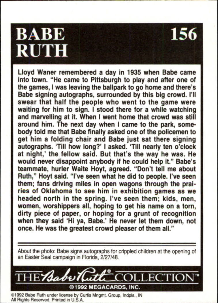 1992 Megacards Ruth #156 Being Remembered by/Lloyd Waner and/Waite Hoyt 1 back image