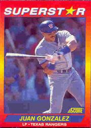 1992 Score 100 Superstars #69 Juan Gonzalez