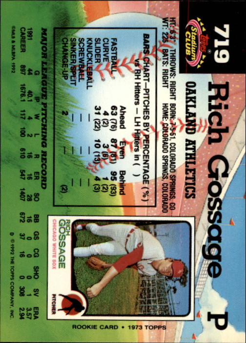 1992 Stadium Club #719 Rich Gossage back image