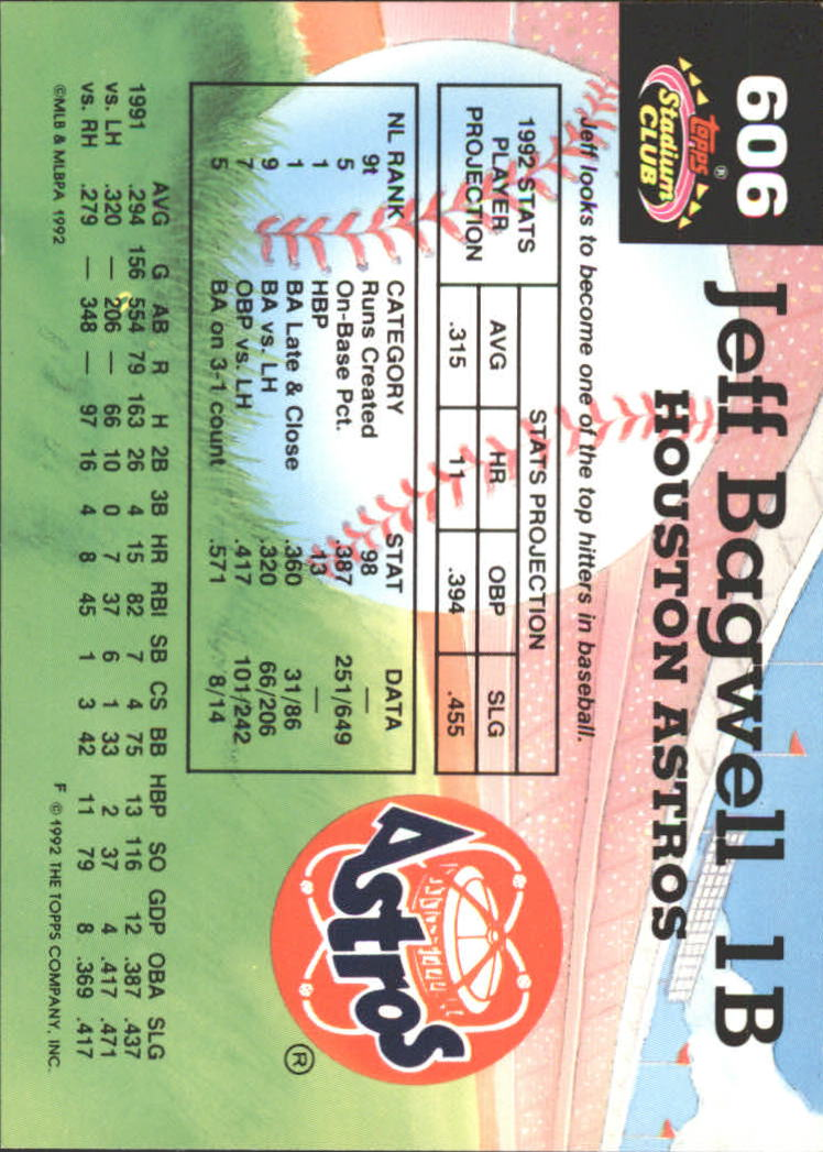 1992 Stadium Club East Coast National #606 Jeff Bagwell MC back image