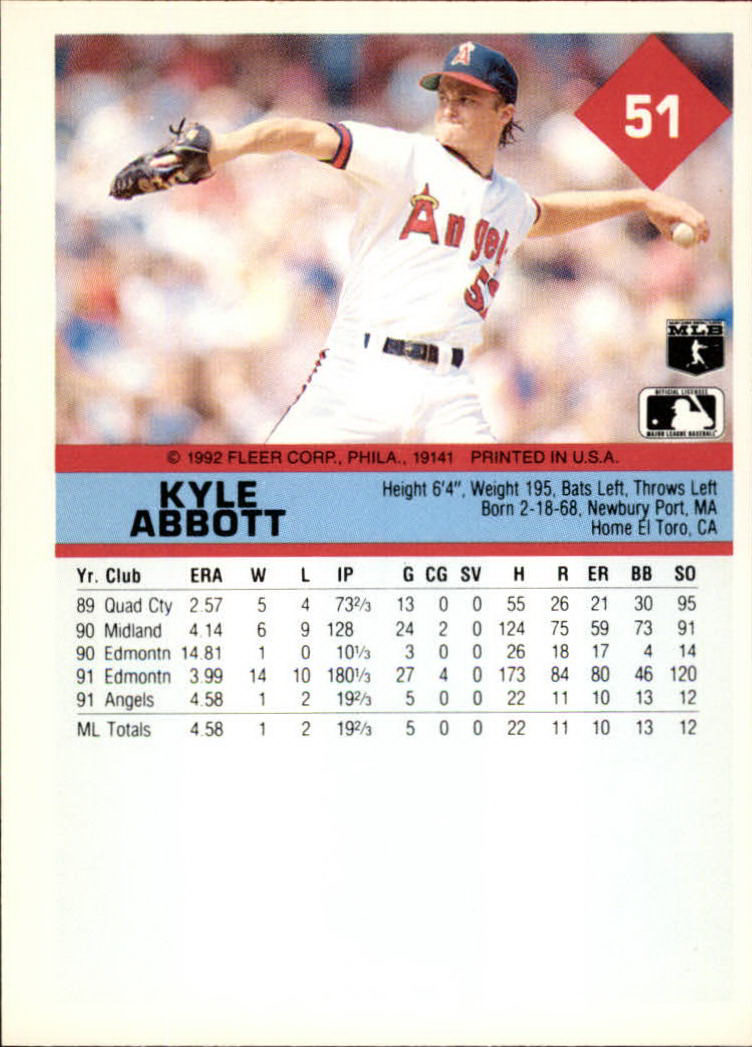 1992 Fleer #51 Kyle Abbott back image