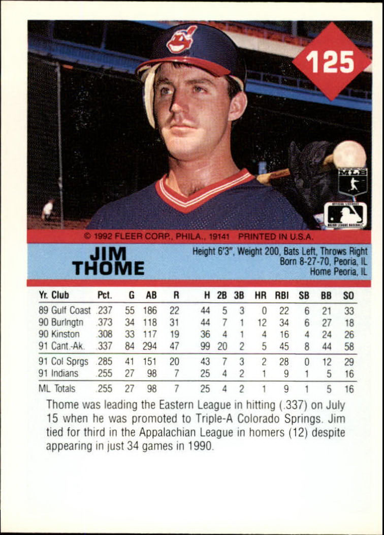 1992 Fleer #125 Jim Thome back image