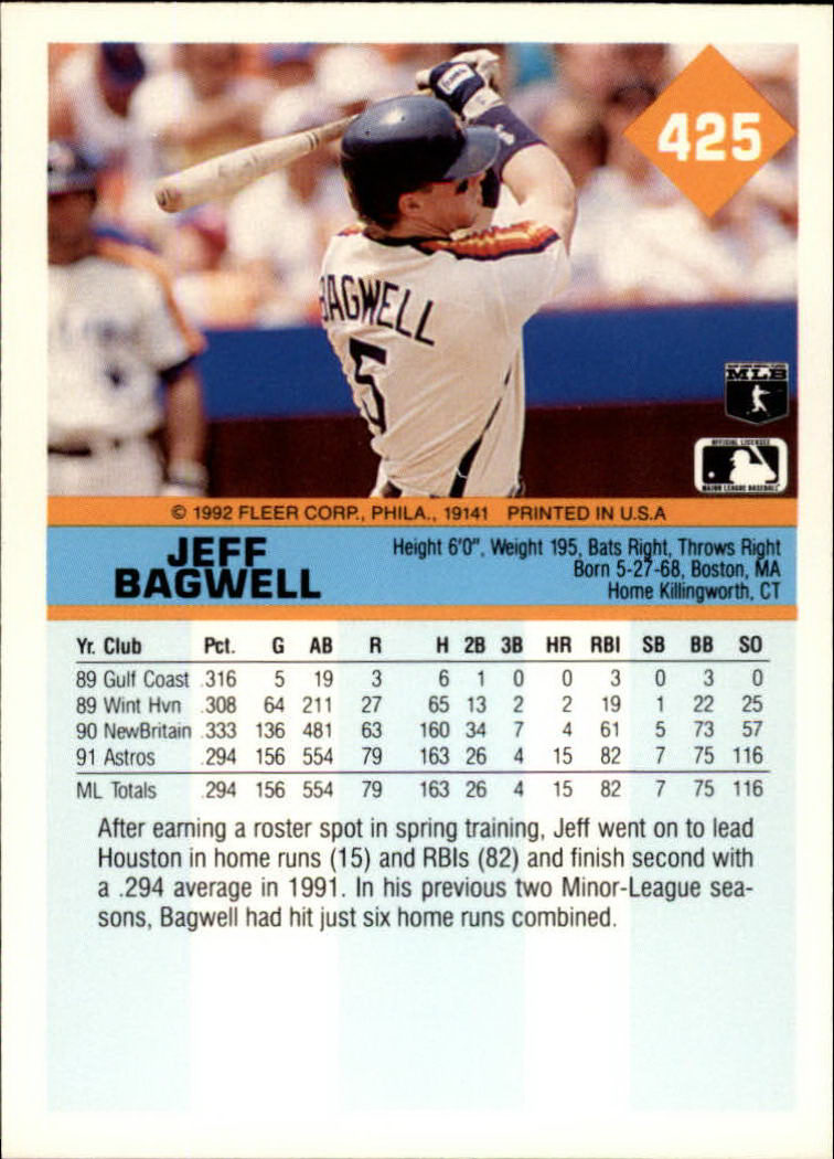 1992 Fleer #425 Jeff Bagwell back image
