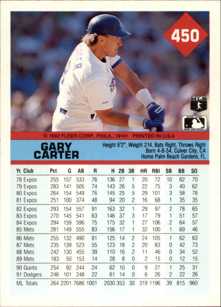 1992 Fleer #450 Gary Carter back image
