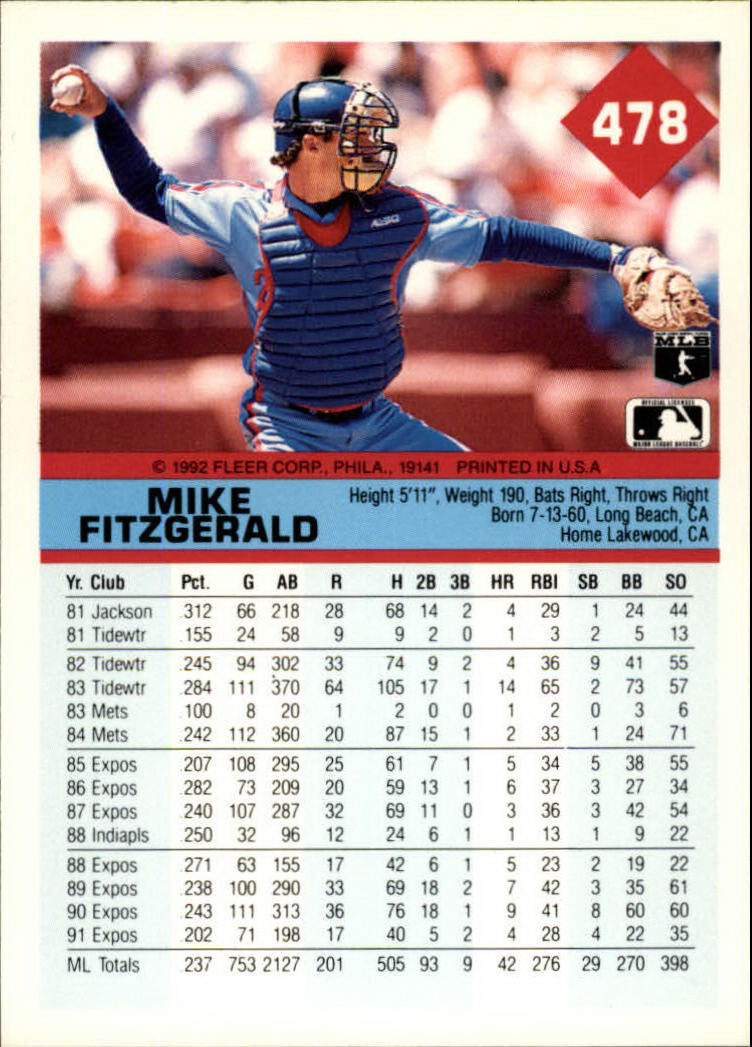 1992 Fleer #478 Mike Fitzgerald back image