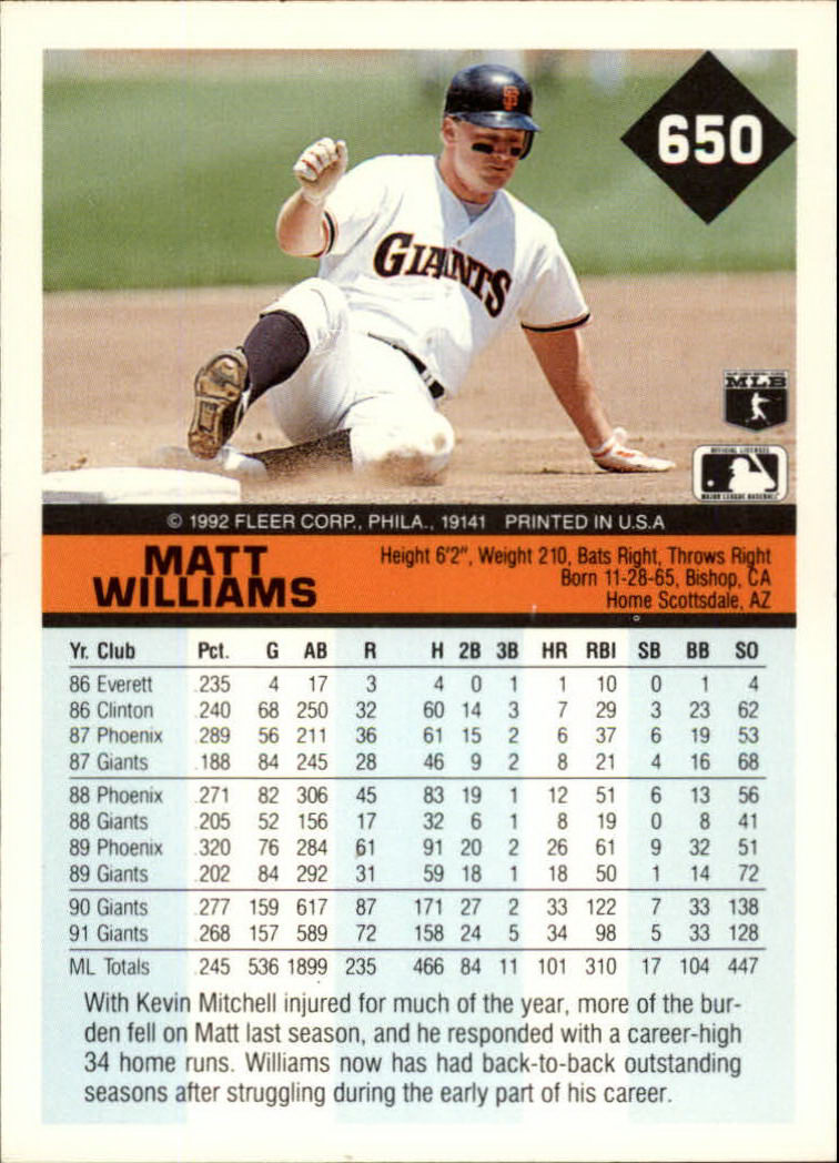 1992 Fleer #650 Matt Williams back image