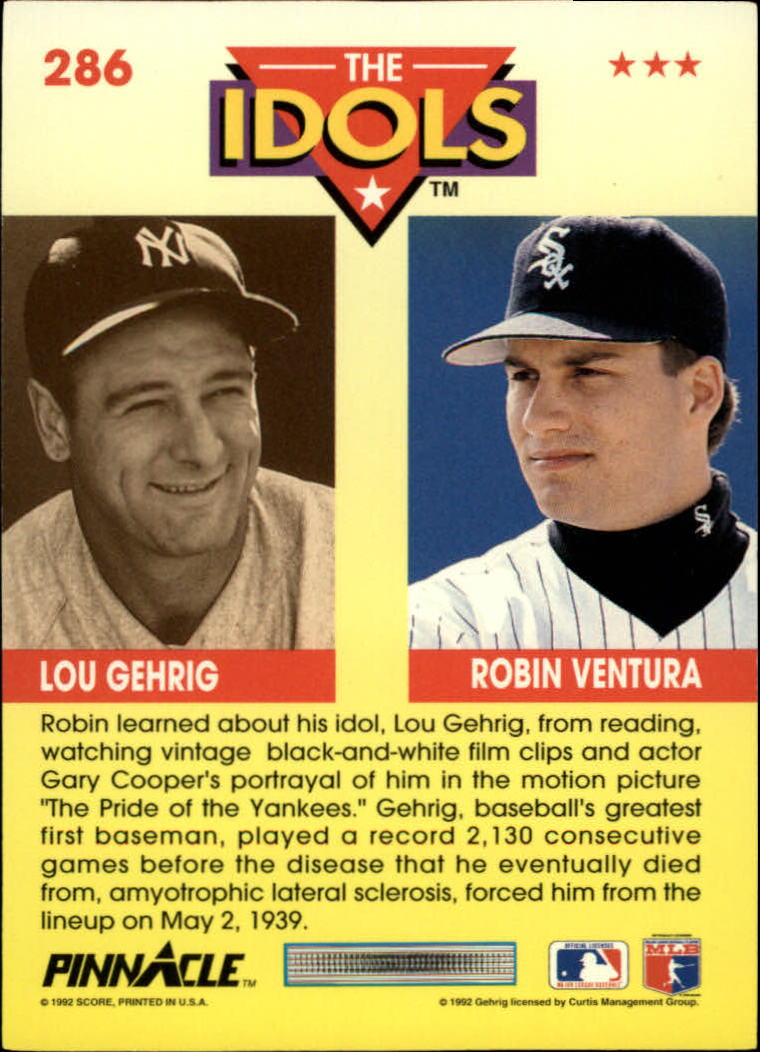 1992 Pinnacle #286 Robin Ventura I/Lou Gehrig back image