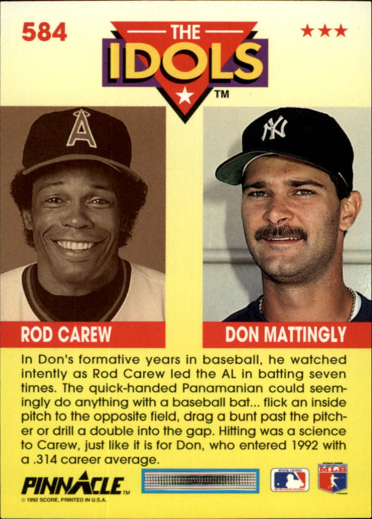 1992 Pinnacle #584 Don Mattingly/Rod Carew IDOLS back image