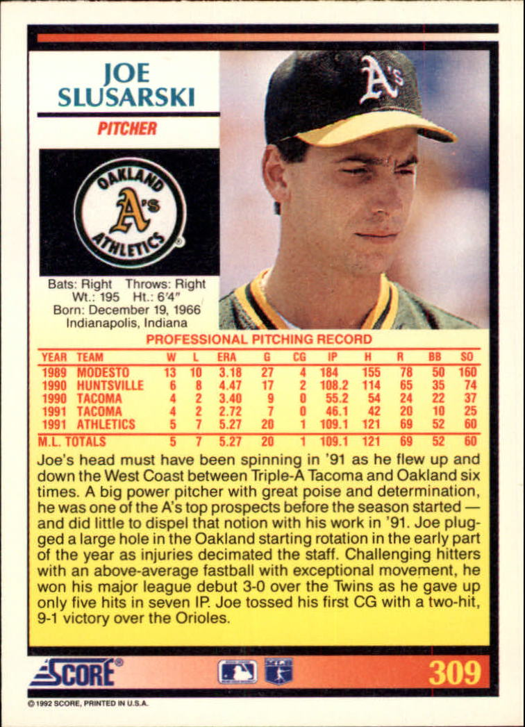 1992 Score #309 Joe Slusarski back image