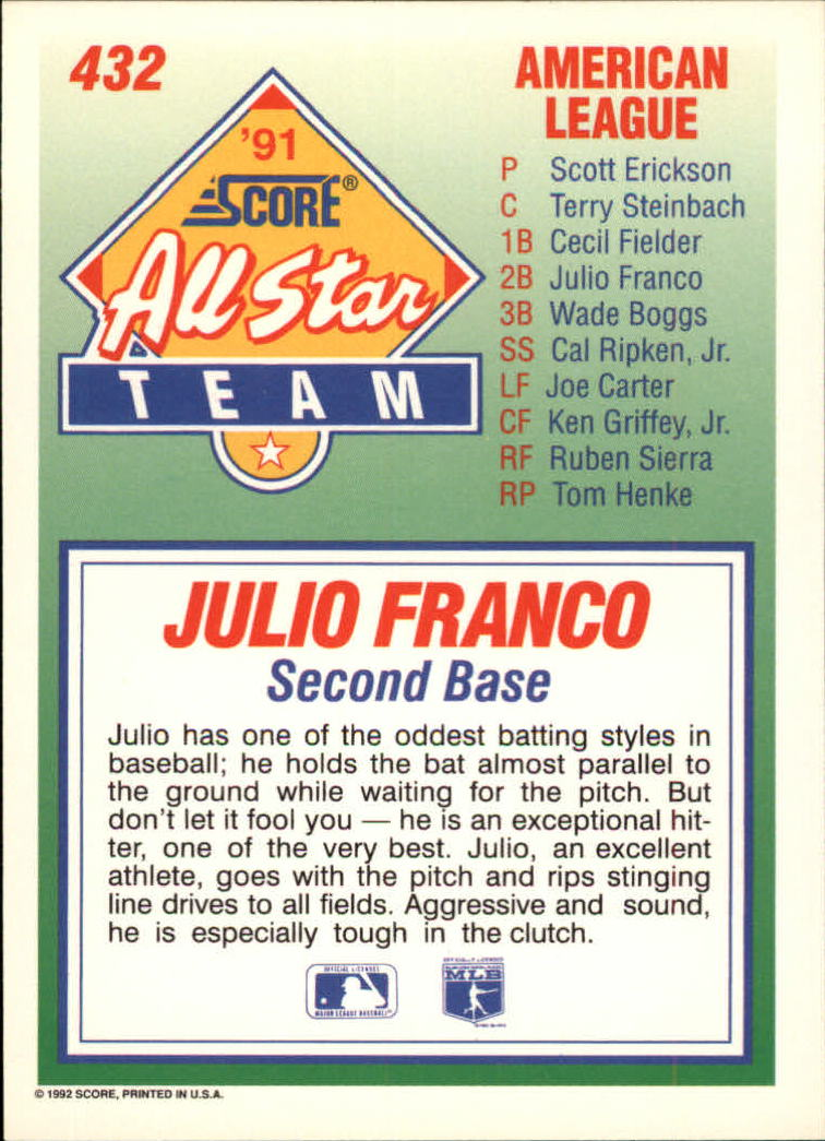 1992 Score #432 Julio Franco AS
