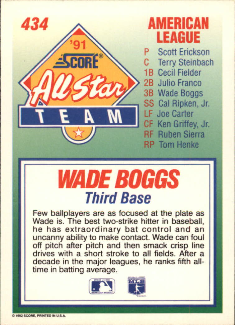 1992 Score #434 Wade Boggs AS back image