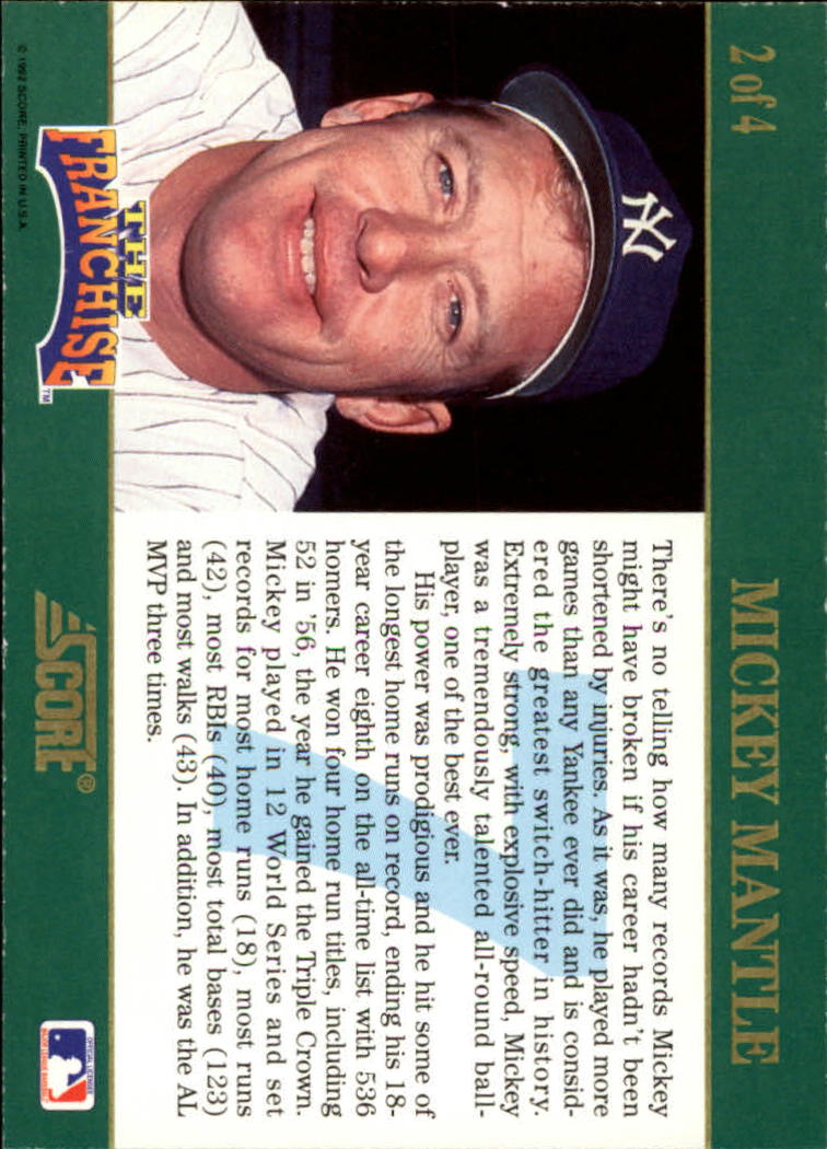 1992 Score Franchise #2 Mickey Mantle back image
