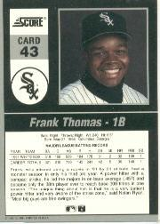 1992 Score Impact Players #43 Frank Thomas back image