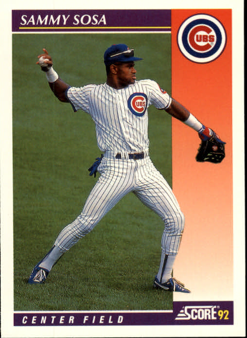 1992 Score Rookie/Traded #23T Sammy Sosa Cubs