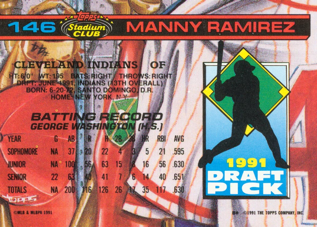 1992 Stadium Club Dome #146 Manny Ramirez RC back image