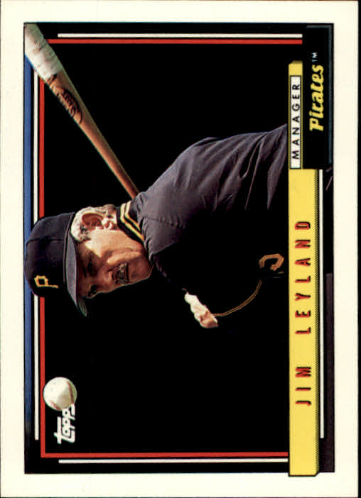 1992 Topps #141 Jim Leyland MG UER/(No closed parenthesis/after
