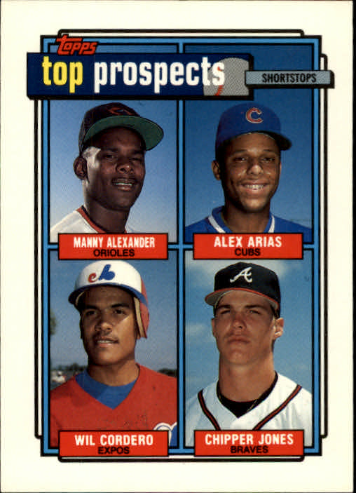 1992 Topps #551 Wilfredo Cordero/Chipper Jones/Manny Alexander/Alex Arias UER/(No line around/top border)