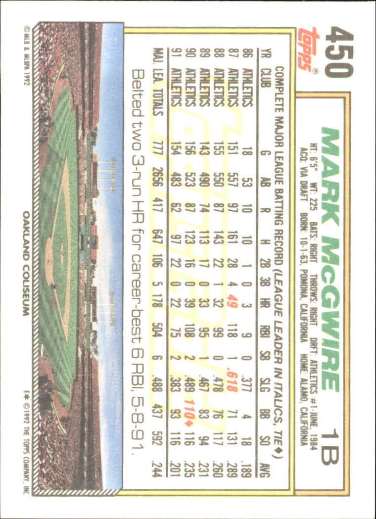 1992 Topps Gold #450 Mark McGwire back image