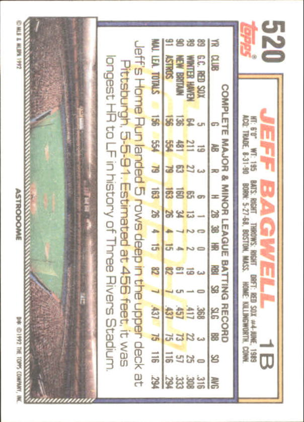 1992 Topps Gold Winners #520 Jeff Bagwell back image