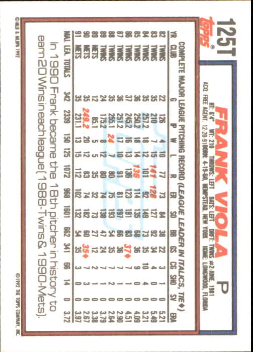 1992 Topps Traded #125T Frank Viola back image