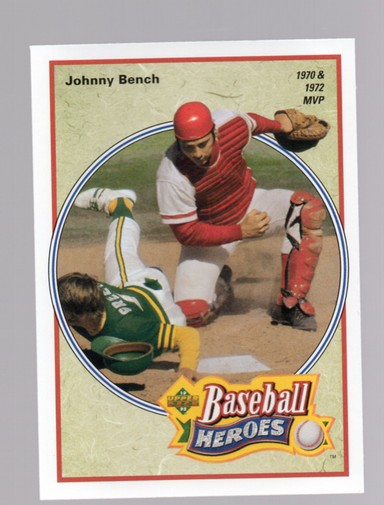 1992 Upper Deck Bench/Morgan Heroes #39 Johnny Bench