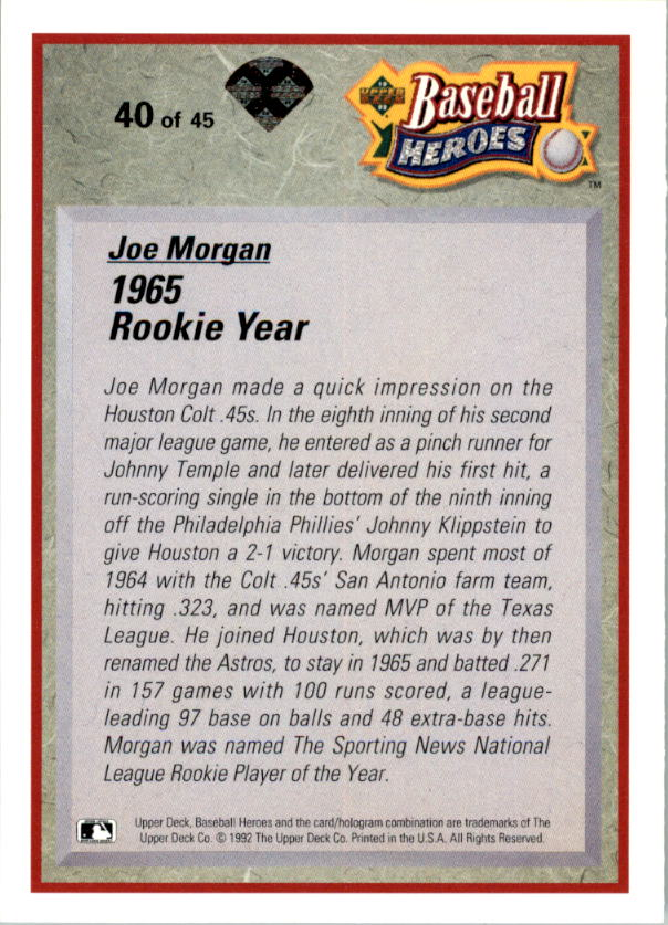 1992 Upper Deck Bench/Morgan Heroes #40 Joe Morgan back image