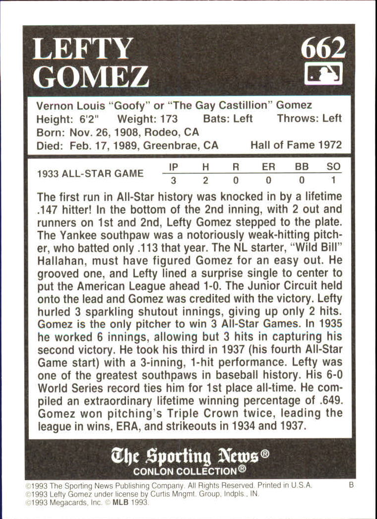 1993 Conlon TSN #662 Lefty Gomez