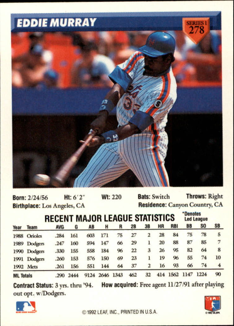 1993 Donruss #278 Eddie Murray back image