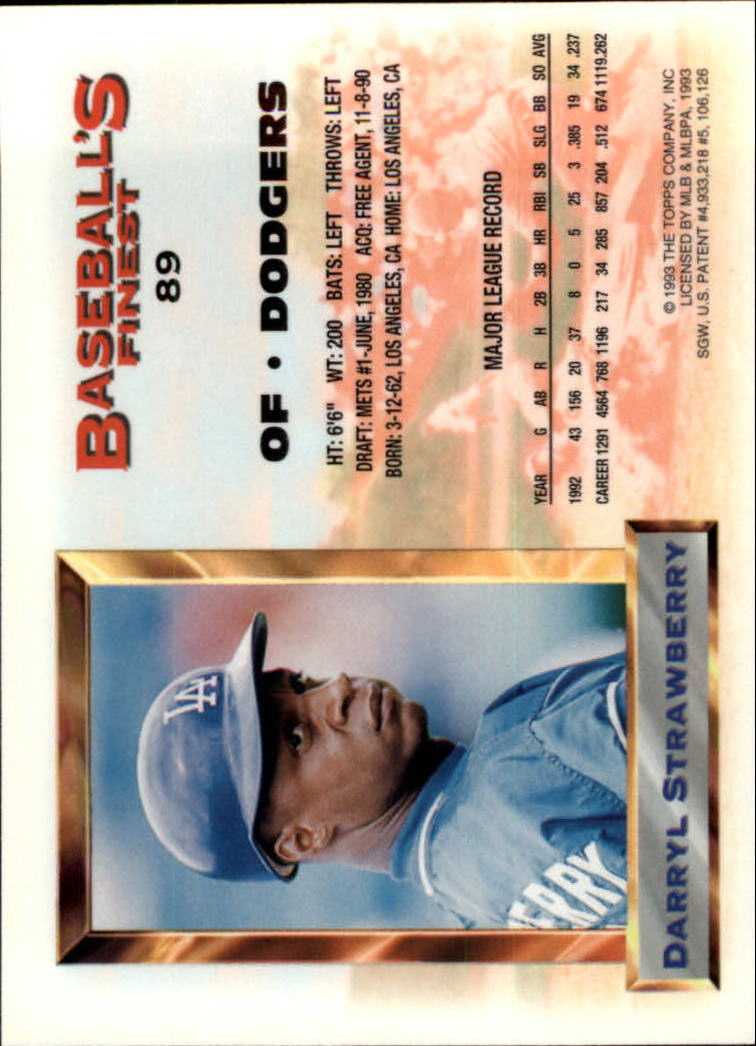 1993 Finest #89 Darryl Strawberry AS back image
