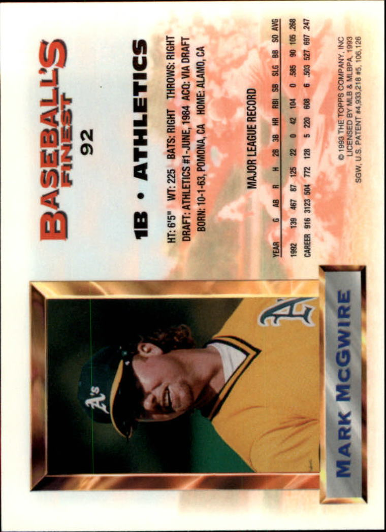 1993 Finest #92 Mark McGwire AS back image