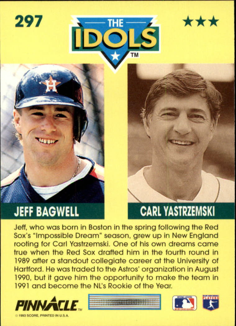 1993 Pinnacle #297 J.Bagwell/C.Yastrzemski back image