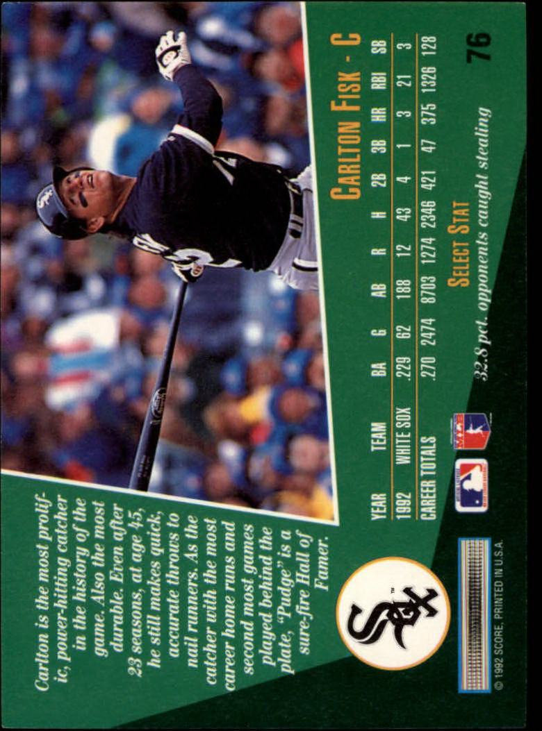 1993 Select #76 Carlton Fisk back image