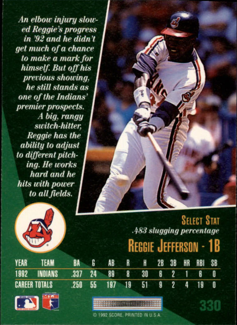 1993 Select #330 Reggie Jefferson back image