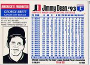 1993 Jimmy Dean #15 George Brett back image