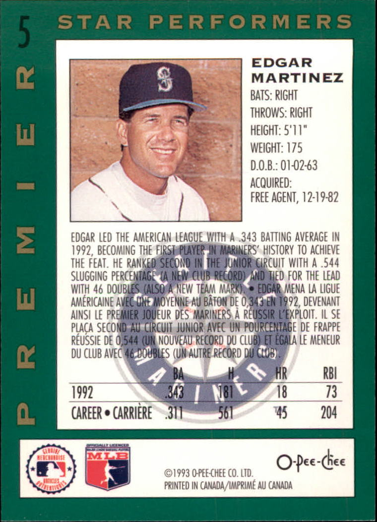 1993 O-Pee-Chee Premier Star Performers #5 Edgar Martinez back image