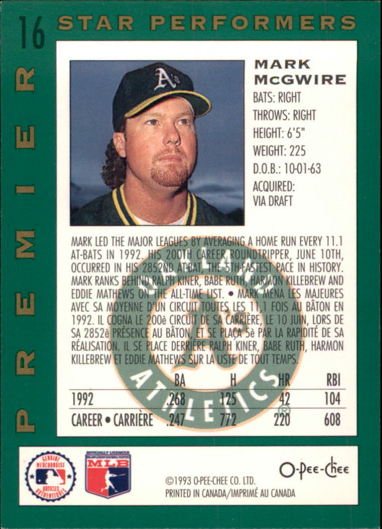 1993 O-Pee-Chee Premier Star Performers #16 Mark McGwire back image