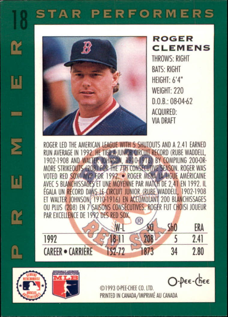1993 O-Pee-Chee Premier Star Performers #18 Roger Clemens back image