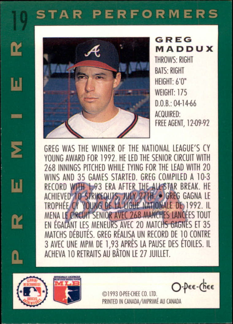 1993 O-Pee-Chee Premier Star Performers #19 Greg Maddux back image