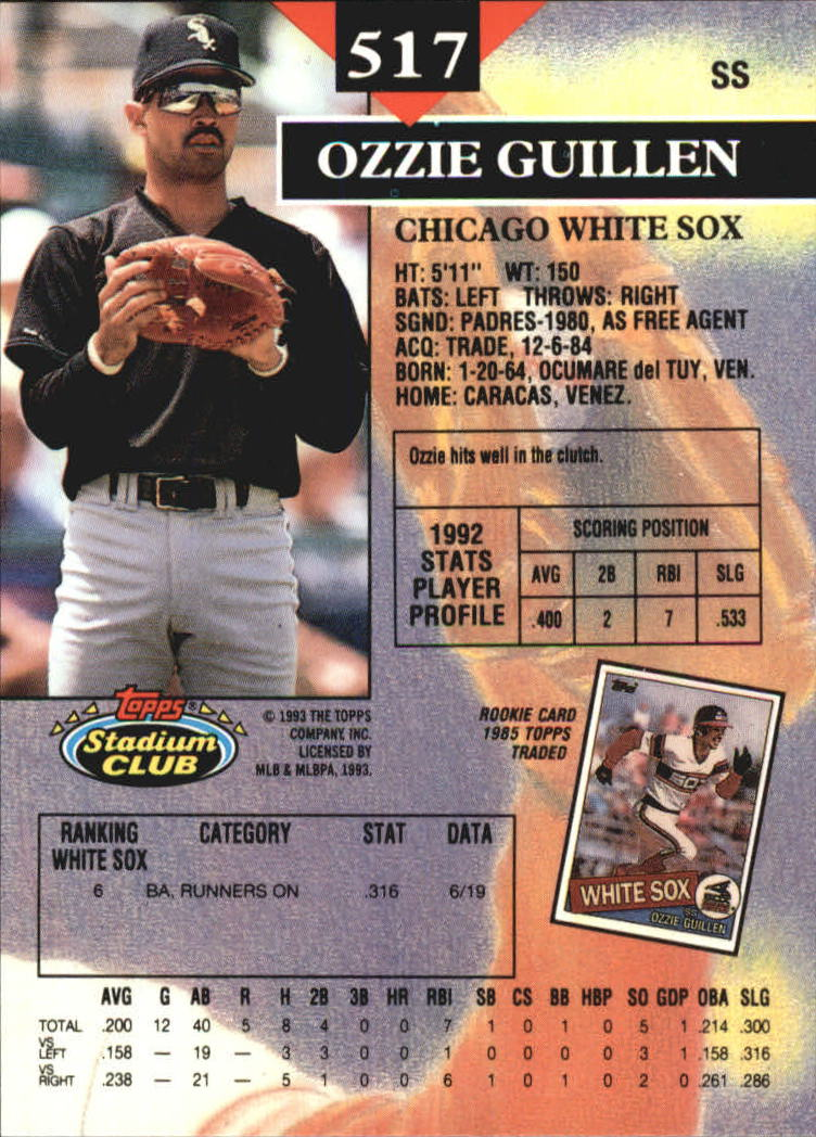 1993 Stadium Club Members Only Parallel #517 Ozzie Guillen back image