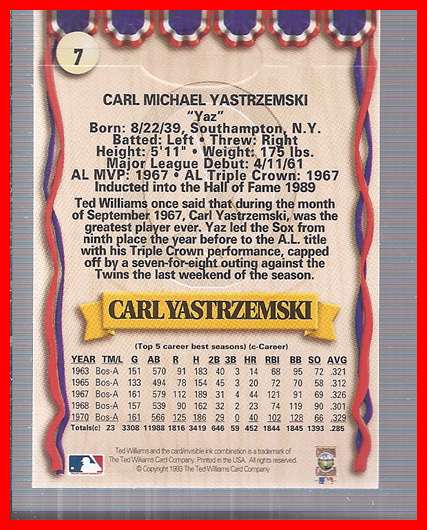 1993 Ted Williams #7 Carl Yastrzemski back image