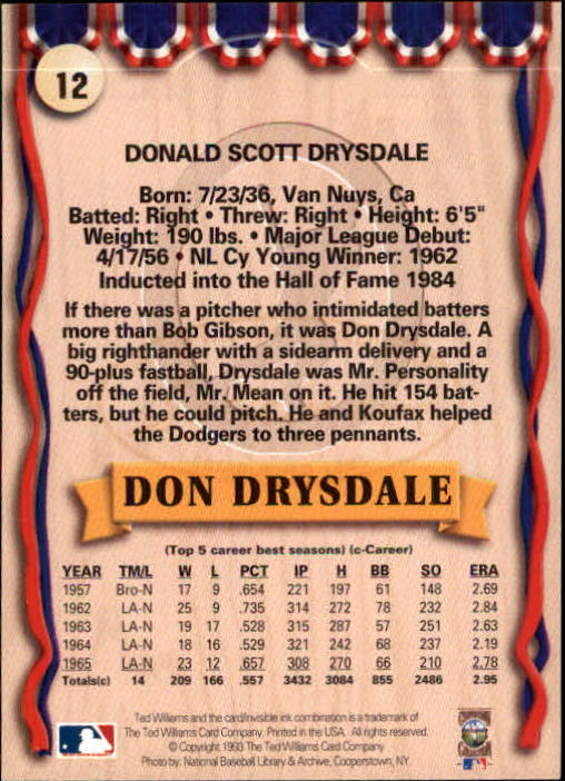 1993 Ted Williams #12 Don Drysdale back image