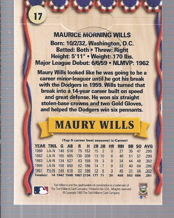 1993 Ted Williams #17 Maury Wills back image