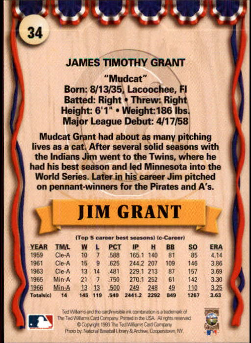 1993 Ted Williams #34 Jim(Mudcat) Grant back image
