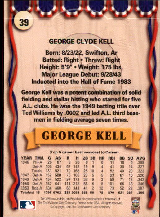 1993 Ted Williams #39 George Kell back image
