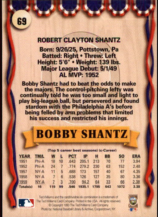 1993 Ted Williams #69 Bobby Shantz back image