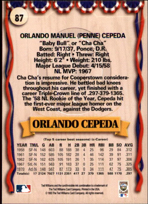 1993 Ted Williams #87 Orlando Cepeda UER/(Born in Puerto Rico&/not Dom back image