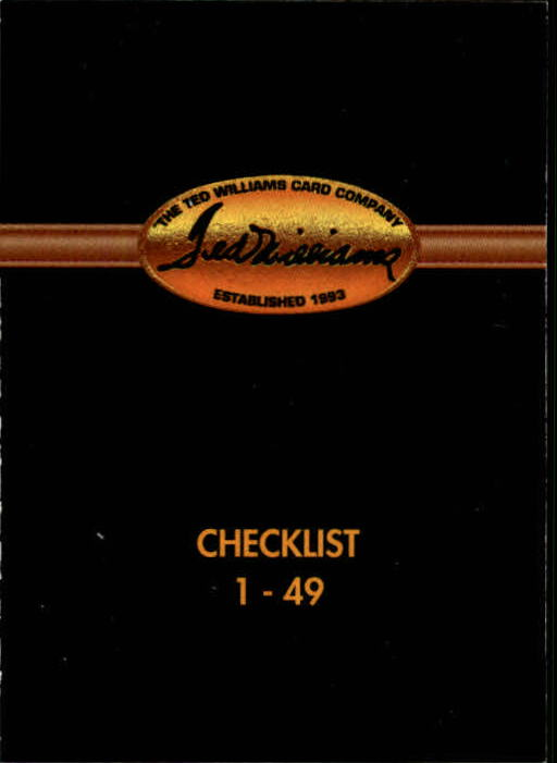 1993 Ted Williams #95 Checklist